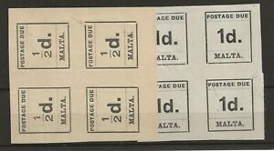 Malta 1925 1/2d & 1d postage due 2x4blocks of four with frame breaks m/m SG D1/2
