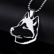New Stainless Steel Husky Huskie Head Outline Pet Dog Tag Charm Pendant Necklace