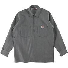 Ben Davis Long Sleeve Half Zip Work Shirt Stripe Black