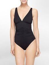 Calvin Klein Center Ruched Halter One-Piece Swimsuit UV Protection Black Size 14