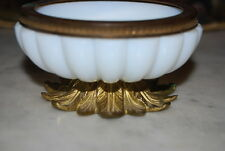 WONDERFUL VINTAGE WHITE MILK GLASS BRONZE MOUNTED CABINET OR TABLE CANDY DISH