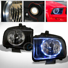 BLACK CLEAR DRL LED HALO RING HEAD LIGHTS LAMPS PAIR NB 2005-2009 FORD MUSTANG