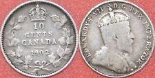 Fine 1902 Canada Silver 10 Cents