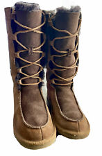 UGG AUSTRALIA WHITLEY HI MOC STYLE BOOTS SUEDE LEATHER LACE UP GIRLS SIZE 1Y❄️❄️
