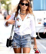 Zara Group Bershka High Waisted Denim Ripped Shorts Size Uk 8 Sold Out