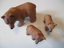 Terra by Battat Brown Bears Mother Cub Family Solid Plastic Toy Maison Joseph