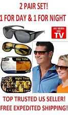 2 Pair Set! HD Vision 1 Night & 1 Day Amber Wraparound Sunglasses As Seen on TV