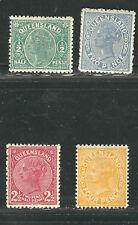Queensland Stamps 89, 92, 94d, 99 Sg 184/204 Mlh F/Vf 1890-95 Scv $80.50
