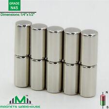 "10-count neodymium N45 Ndfeb cylinder magnets 1/4 x 1/2"" (true N45)"