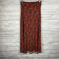 LulaRoe Womens Maxi Skirt Size Small Maroon Floral Full Length Fold Over