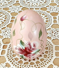 Vintage Wooden Easter Egg Pink Flowers Decorative Hand Painted Collectible Gift