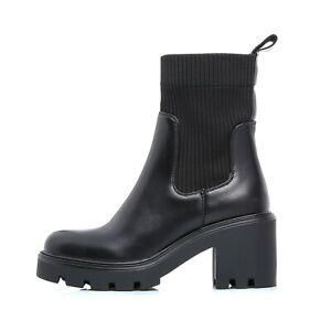 Stivali donna stivaletti tronchetto biker calzino ankle boots tacco alto 8 613