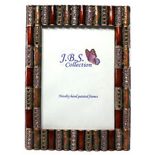 Bejeweled column pattern photo frame, enamel painted w/ crystals in burgundy 4x6