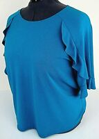 Worthington Blue Ruffle Raglan Round neck Blouse Stretch Knit Top Sz 2X NEW NWT