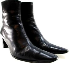Semelle Cuir Women Leather High Heel Ankle Boots 8 B Black Leather Lined