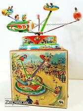 ROCKET SHIP CAROUSEL 1950s Clockwork Fairground Tin Toy Blomer & Schüler SciFi