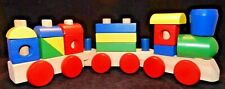 Stacking Wooden Building Blocks Train Educational Primary Colors NEW B1