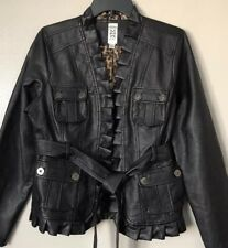 M by Marc Bouwer Women's Polyurethane/Rayon Black Faux Leather Jacket Size M New