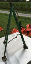 Tripod Car Bumper Jack vintage hand crank screw green