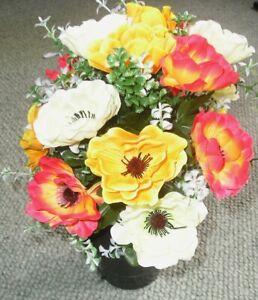 Artificial /Silk Flower Arrangement In a Grave / Memorial / Crem Pot