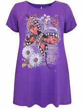 Womens Ivans PURPLE Butterfly Print Dipped Hem Tunic - Plus Size 20/26-28 SALE