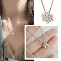 Frauen Kristall gefroren Weihnachten Schneeflocke Halskette Kette & U4T5