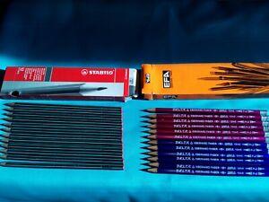 24 PCS GRAPHITE PENCILS --SCHWAN-OTHELLO 2H+EBERHARD FABER 2=B -in  BOX- -NEW--
