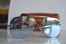 Ray Ban Aviator Sunglasses Semi Rimless golden frame blue lenses