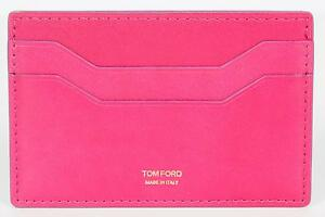 Tom Ford New Pink Smooth 100% Calf Leather ID Credit Card Holder Made in Italy