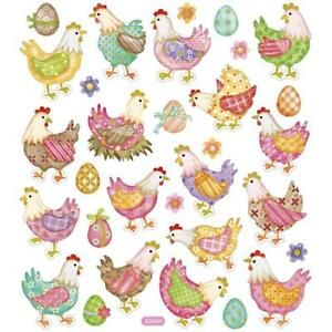 Easter Hens Eggs Ribbon Colourful Glitter Stickers 15 cm Embellishments Sheet