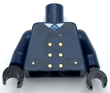 Lego New Torso Coat with Light Blue Tie and Gold Buttons Pattern Dark Blue Arm