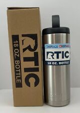 RTIC Double Wall Vacuum Insulated Stainless Steel Silver Black 18 Oz Bottle