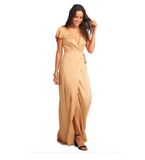 Show Me Your Mumu Noelle Satin Wrap Evening Dress True Gold Luxe Satin XS