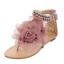 Boho Beaded Summer Flats Beach Shoes Sandals AU Sz 2 3 4 5 6 7 8 10 Pink 7 ( Size Tag CN 40)