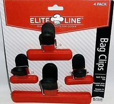SET OF 4 BAG CLIPS  1 Large/1 Medium/2 Small  RED