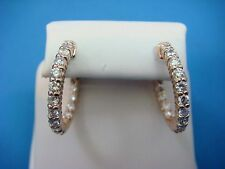 !14K ROSE GOLD 1.10 CT DIAMONDS, IN AND OUT HOOP EARRINGS 5.3 GRAMS,SAFETY LOCKS