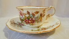 Antique Pink Green Blue Floral Porcelain Tea cup and Saucer