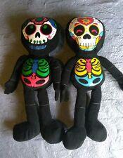 "Lot of 2 Fiesta toys Dia De los Muertos, sugar skull plush stuffed doll 25"""