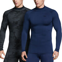 TSLA Men's Thermal Long Sleeve Compression Shirts, Turtleneck Running Top