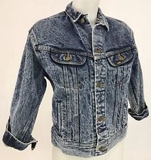 Vintage Acid Wash Denim Jacket 3/4 Sleeves Women's Size Medium Lee Rider 80s