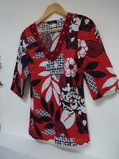 Ladies Lovely Moda George Red Mix Floral Beaded Hip Length Tunic Top Size 10, Vg