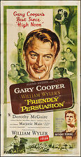 """Poster Friendly Persuasion 1956 3 Sheet 41""""x79"""" FN 6.0 Gary Cooper"""