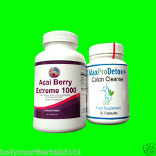 60 Acai Berry Extreme 1000 And 30 Max Pro Colon Cleanse Detox