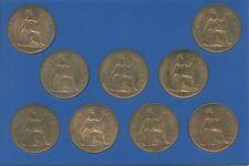 Set of Nine Penny Coins (EF) 1937 (1) 1938 (3) 1939 (1) 1947 (4) Pennies in Case