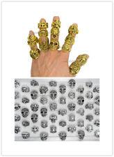 20pcs Wholesale Lots Mixed Skull Gold/Silver Men's Rings Jewelry Biker Punk Ring