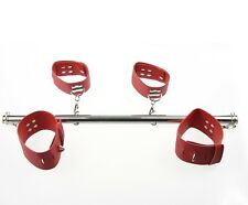 PU Leather Stainless Steel Leg Spreader Bar With Ankle & Wrist Cuffs Bondage NEW