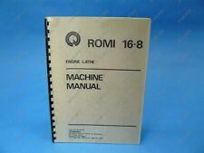 Romi 16-8 Engine Lathe Machine Manual Nnb