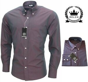 Relco Men's Two Tone Tonic Long Sleeve Button Down Burgundy Black Shirt