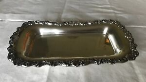 """REED & BARTON OLD COLONY SILVERSMITHS SILVERPLATE OBLONG FOOTED TRAY 13 1/4"""""""
