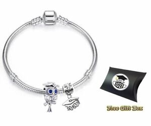 Graduation Cap Class of 2021 Silver Owl Charm Snake Bracelet with Gift Box 21cm